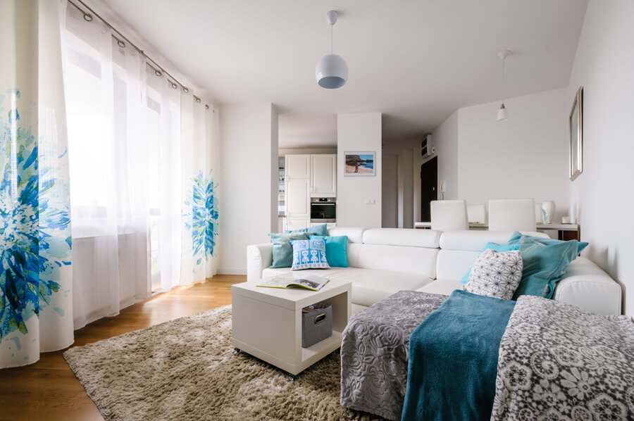projekt mieszkania biel turkus biały dąb
